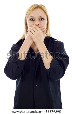 Young blonde woman covers her mouth - speak no evil, isolated on white background