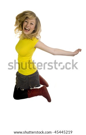 Young Blonde Woman Jumping - stock photo