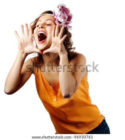young blonde woman shout and scream using her hands as tube, studio shoot isolated on white - stock photo