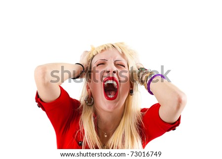 Young blonde woman shouting isolated on white