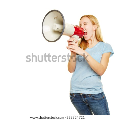 Young blonde woman shouting loudly with a big megaphone - stock photo