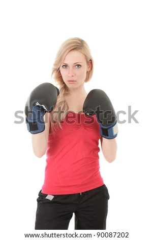 Young blonde woman with boxing gloves isolated on white background