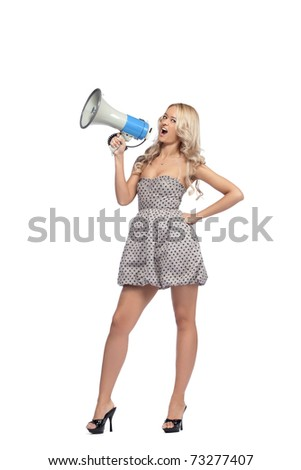 Young blonde woman  with megaphone