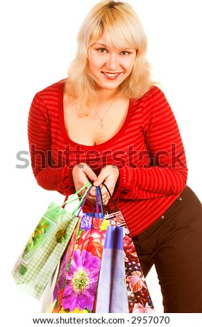 Young blondie with shopping bags