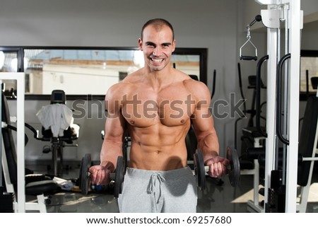 young bodybuilder training in the gym - dumbbell biceps curl - stock photo
