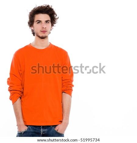 young bored caucasian man portrait in studio on white backgroun - stock photo