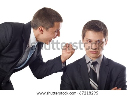 Young boss impose his opinion by fist - stock photo