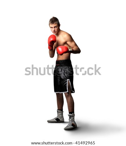 young boxer on guard isolated on white background - stock photo