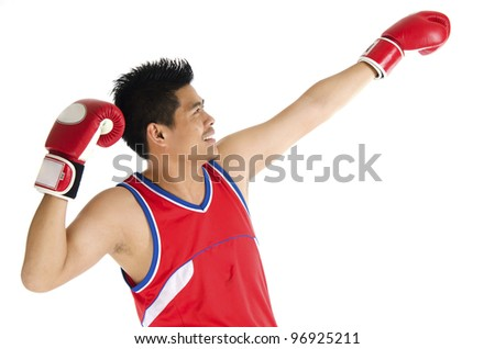 Young boxer poses in action over on white background. - stock photo