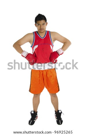 Young boxer poses over on white background. - stock photo