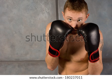Young boxer staring at the camera over his gloved fists as he keeps a careful watch during training, with copyspace - stock photo