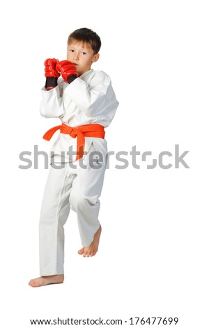 young boy aikido fighter in white kimono showing martial arts isolated on white