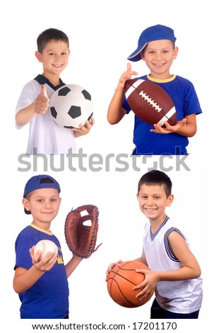 Young boy and  sports balls - stock photo