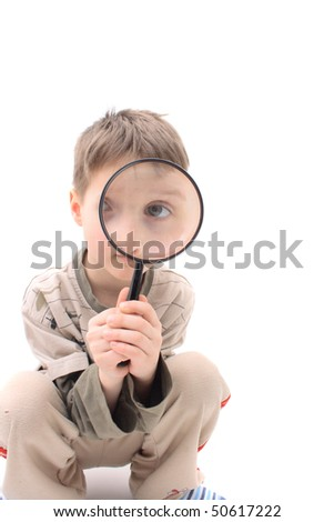 young boy as detective - stock photo
