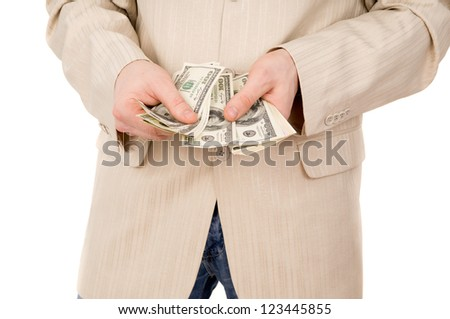 young boy believes the money isolated on white background - stock photo