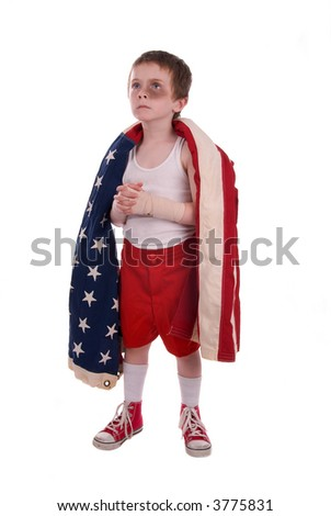 young boy boxer preparing for a fight wrapped in the american flag - stock photo
