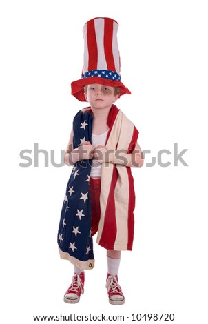 Young boy boxer wrapped in the american flag over white
