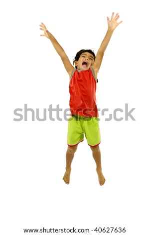Young boy celebrating a goal, point or a win. - stock photo