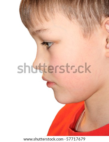 Young boy crying, isolated on white - stock photo