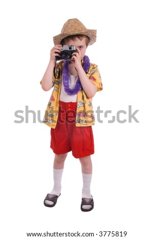 young boy dressed as a funny tropical tourist, isolated over white - stock photo