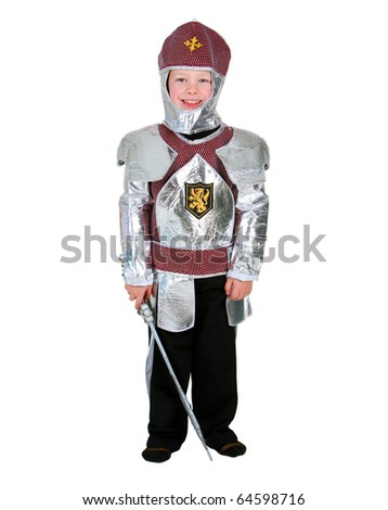 Young boy dressed as a Halloween Knight isolated on white - stock photo
