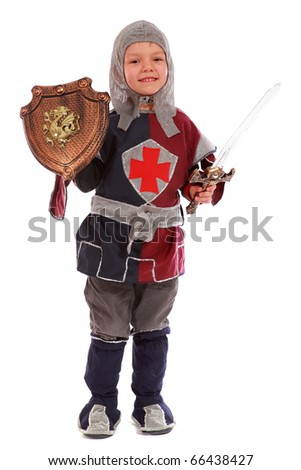Young boy dressed as a Knight isolated on white