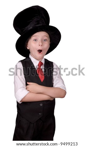 Young boy dressed as a magician with a hat and a surprised expression over a white background