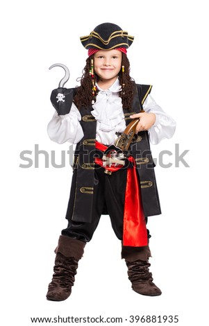 Young boy dressed as pirate posing with gun and hook. Isolated on white - stock photo