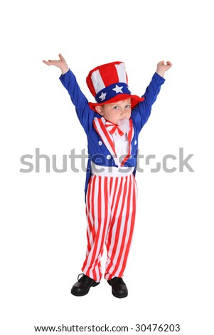 Young boy dressed up like Uncle Sam - stock photo