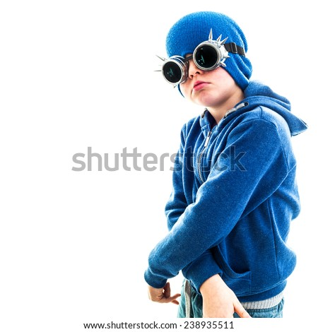 Young Boy Dresses As Hip Dude - stock photo