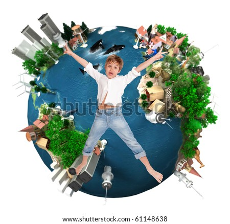 Young boy flying over an environment oriented design of the Earth - stock photo