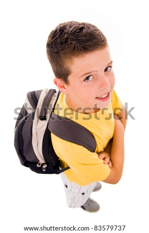 Young boy full body with school bag, isolated on white - stock photo