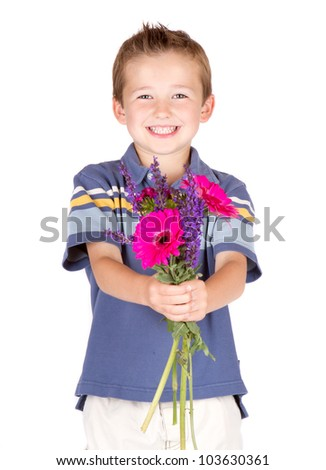 Young boy handing flowers, Isolated on white - stock photo