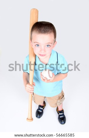 Young boy holding a baseball bat and ball on white background - stock photo