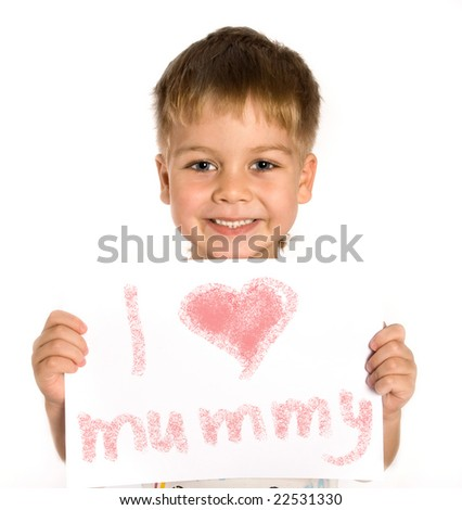 Young boy holding an advertising card - stock photo