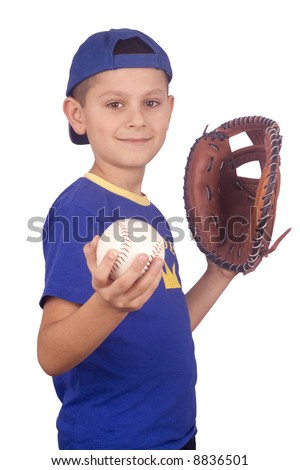Young boy holding ball and mitt isolated on white background - stock photo