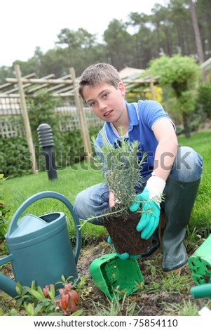 Young boy holding flower pot in garden - stock photo