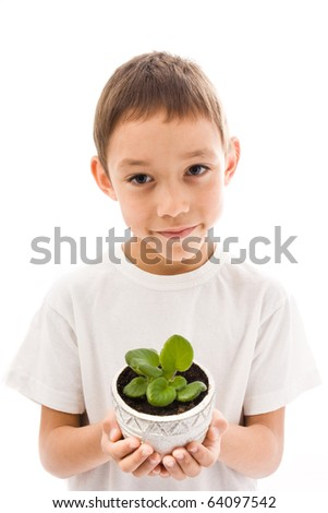 young boy holding sprout in his hands isolated on white - stock photo