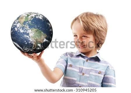 Young boy holding world in the palm of his hands concept for education, travel, communications, politics or environmental conservation  Earth image courtesy of Nasa at http://visibleearth.nasa.gov  - stock photo