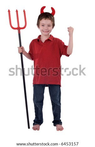 Young boy in a devil costume with horns and a trident isolated over white - stock photo