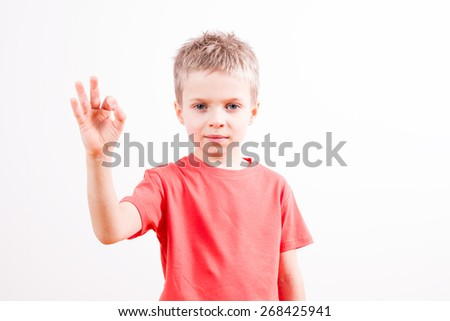 Young boy in a gesture of success - stock photo