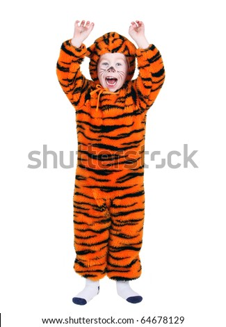 Young boy in a Halloween tiger costume  sc 1 st  Shutterstock : tiger head costume  - Germanpascual.Com