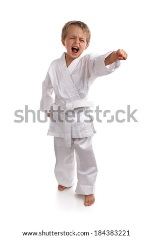 Young boy in a karate suit doing martial arts moves - stock photo