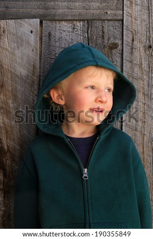 Young boy in a thoughtful pose with a barn wood background. - stock photo