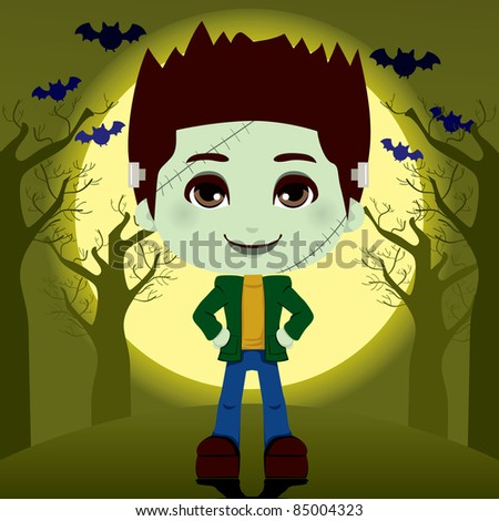 Young boy in frankenstein costume outdoors on full moon halloween night - stock photo