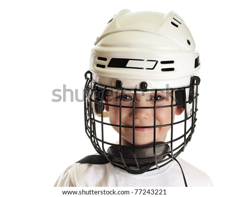 Young boy in hockey helmet isolated on pure white background - stock photo