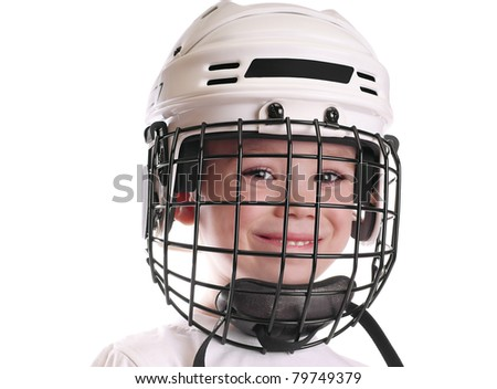 Young boy in hockey helmet isolated on pure white background