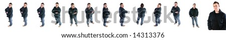 young boy in jacket isolated on white background