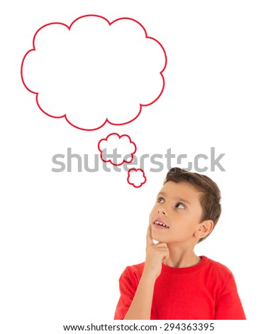 Young Boy looking up and thinking with bubbles