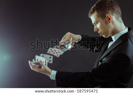 Young boy magician - stock photo